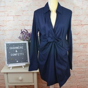 Soft Surroundings Navy Mid Wrap Ruched Tunic A3